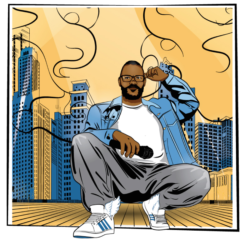 hip-hop in Chicago, hip-hop Chicago, diana petrarca, rap, illustration, city, chicago, illustator, music