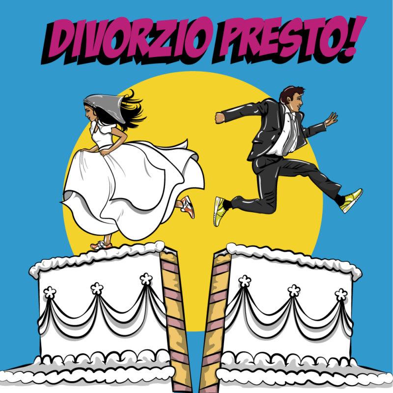 Divorzio Presto illustrazione, diana petrarca, illustration, sposi, torta, azzurro, giallo, divorzio, matrimonio