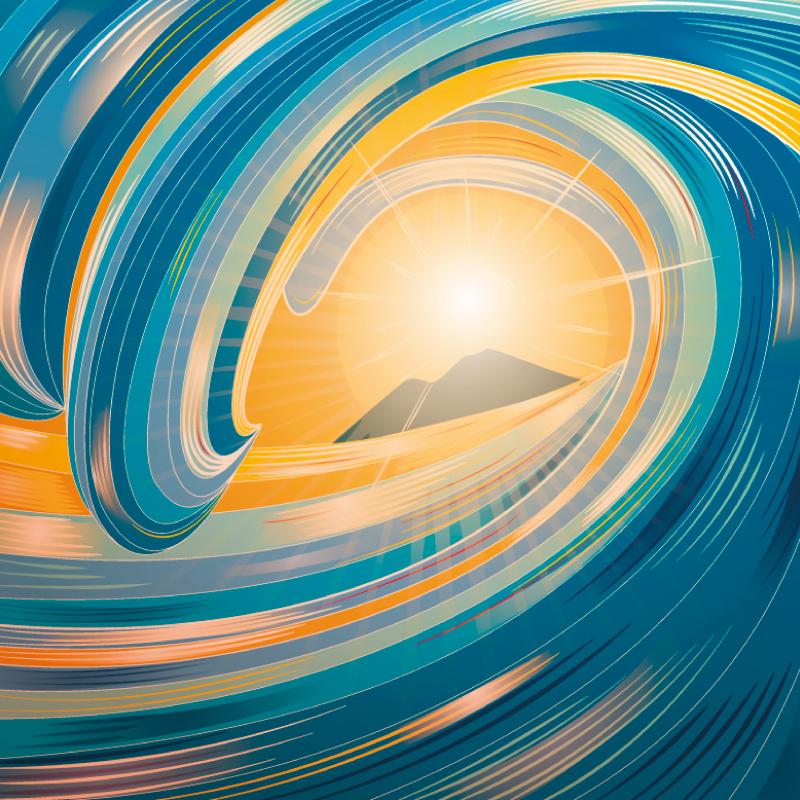 Miraggio, diana petrarca, illustration, vesuvio, napoli, illustrazione, disegno, mare, onda, tramonto, graphic design
