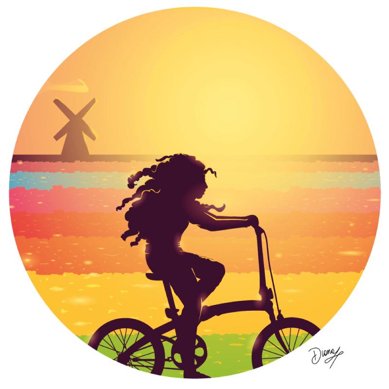Olanda, diana petrarca, tramonto, mulino, tulipani, bicicletta, donna, capelli, vento, pace, estate, vacanza