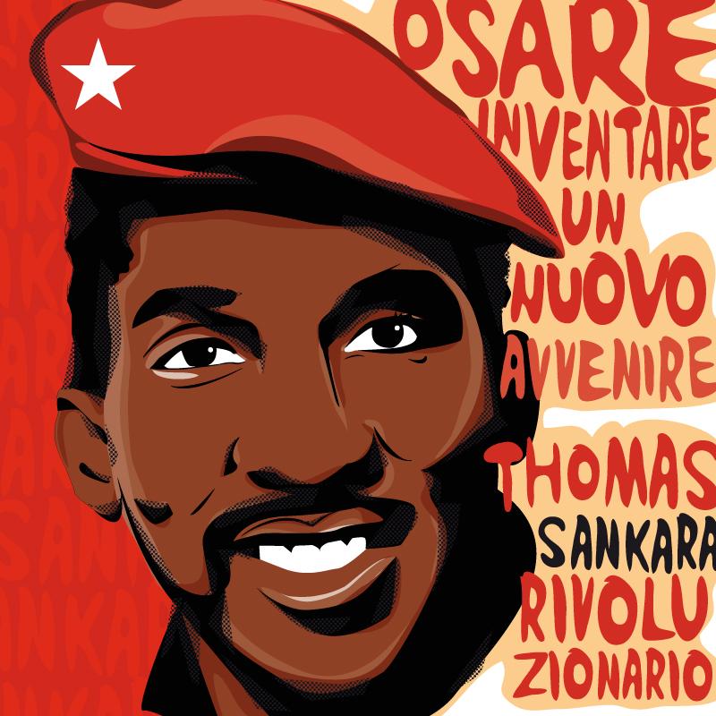 Thomas Sankara, diana petarrca, illustration, lotta, politica, illustration, ritratto, tributo, rivoluzionario