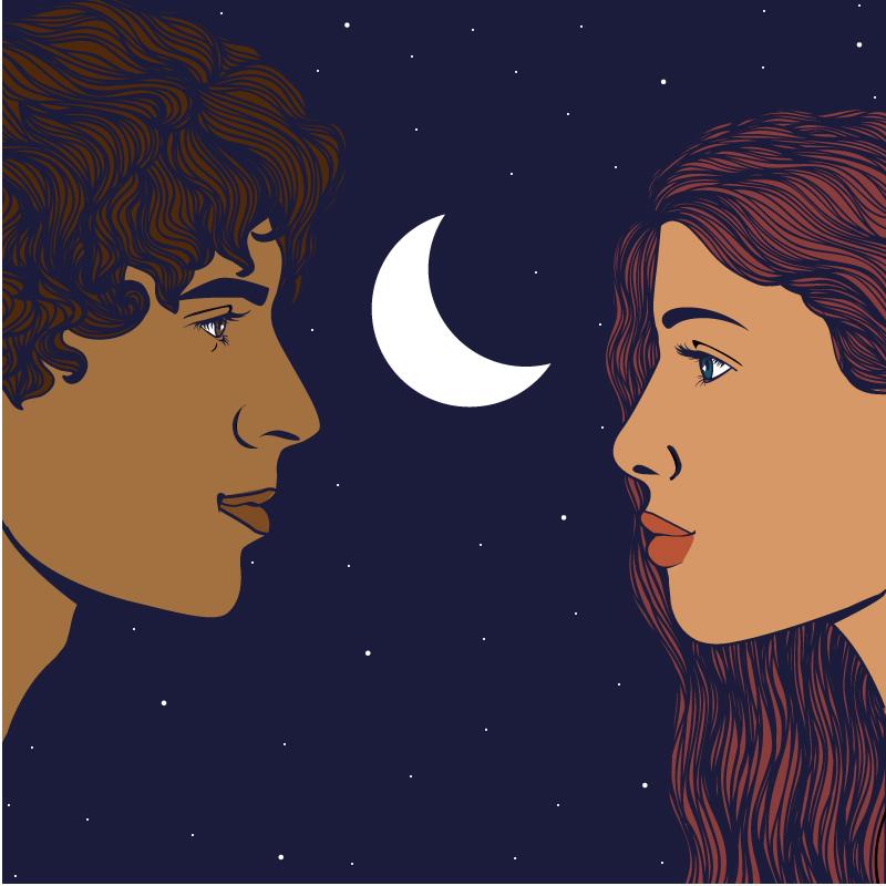 Tristano e Isotta, amore, diana petrarca, illustration, leggenda, storia, stelle, luna, cielo, sguardo, graphic design