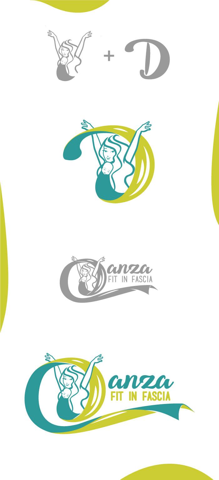 Danza Fit in fascia - Logo, diana petrarca, danza, fascia, bambini, mamme, ballo, dolcezza, verde, graphic design, grafica