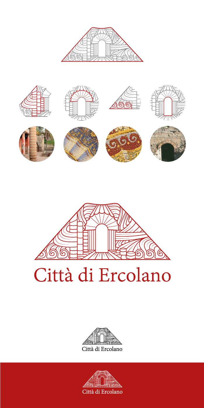 logo della città di ercolano, città di ercolano, ercolano, napoli, vesuvio, logo, turismo, diana petrarca, graphic design, grafica, rosso pompeiano, vulcano