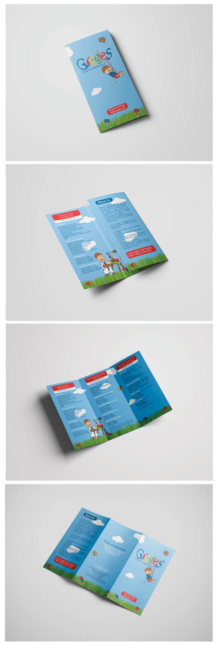 giggles drop in childcare, school, graphic design, brochure, diana petrarca, progettazione, grafica, impaginazione, work, lavoro