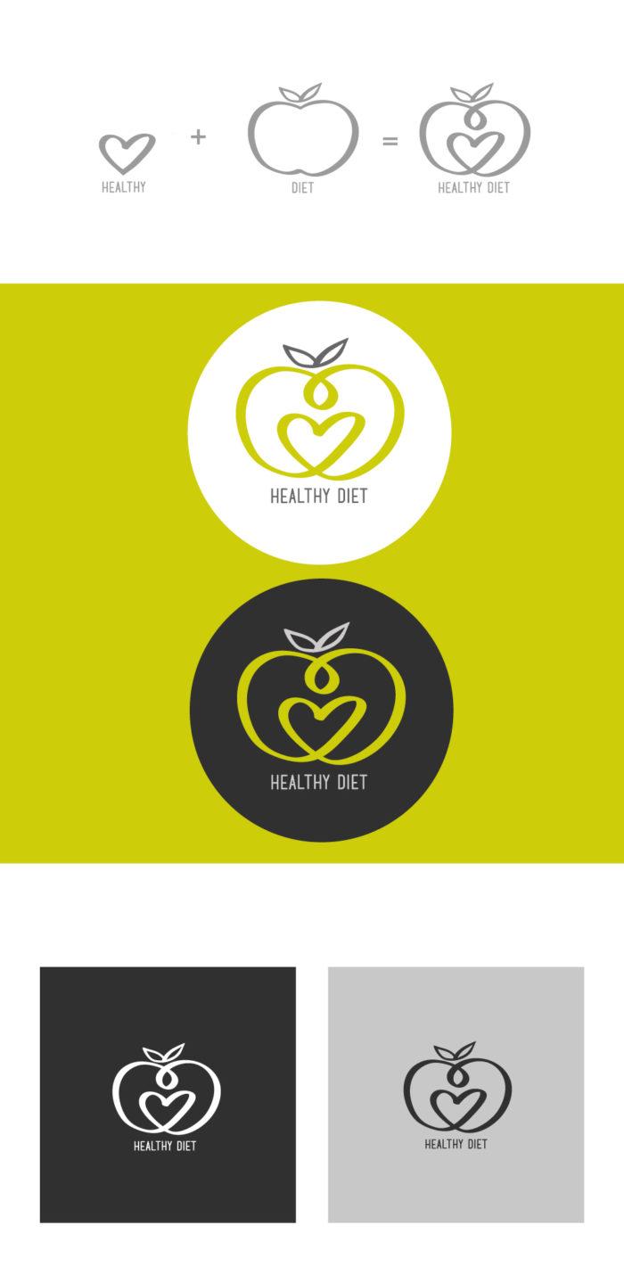 Healthy Diet Logo, mela, dieta, salute, benessere, graphic design, diana petrarca, grafica