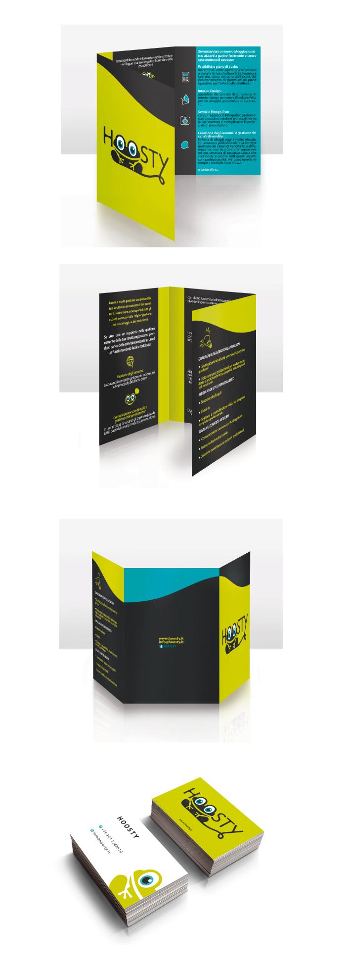 hoosty, brochure, biglietto da visita, design, graphic design, grafica, diana petrarca, Hoosty - Brochure e biglietto da visita