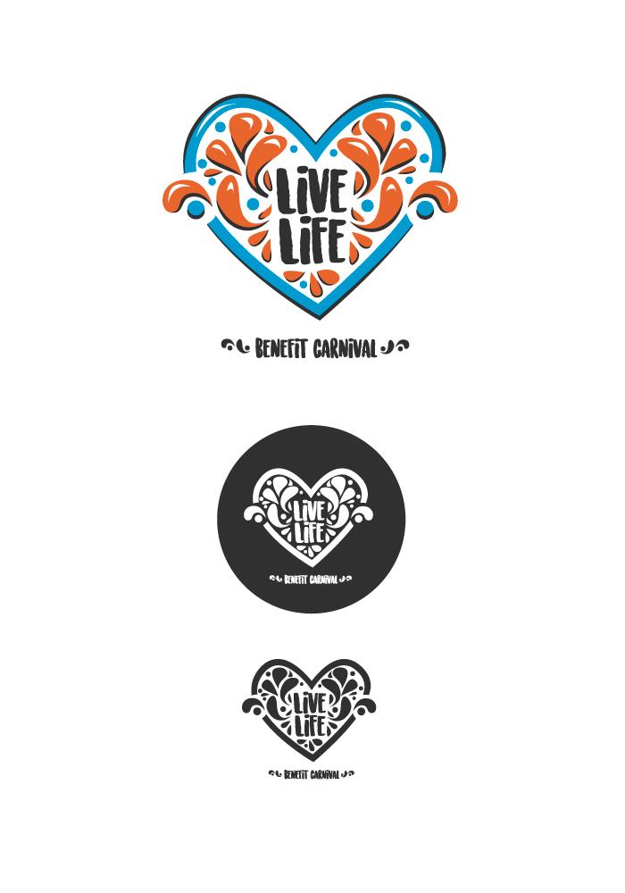 Live Life Benefit Carnival logo, diana petrarca, graphic design, logo, cuore, carnevale, arancione, azzurro, solidarietà