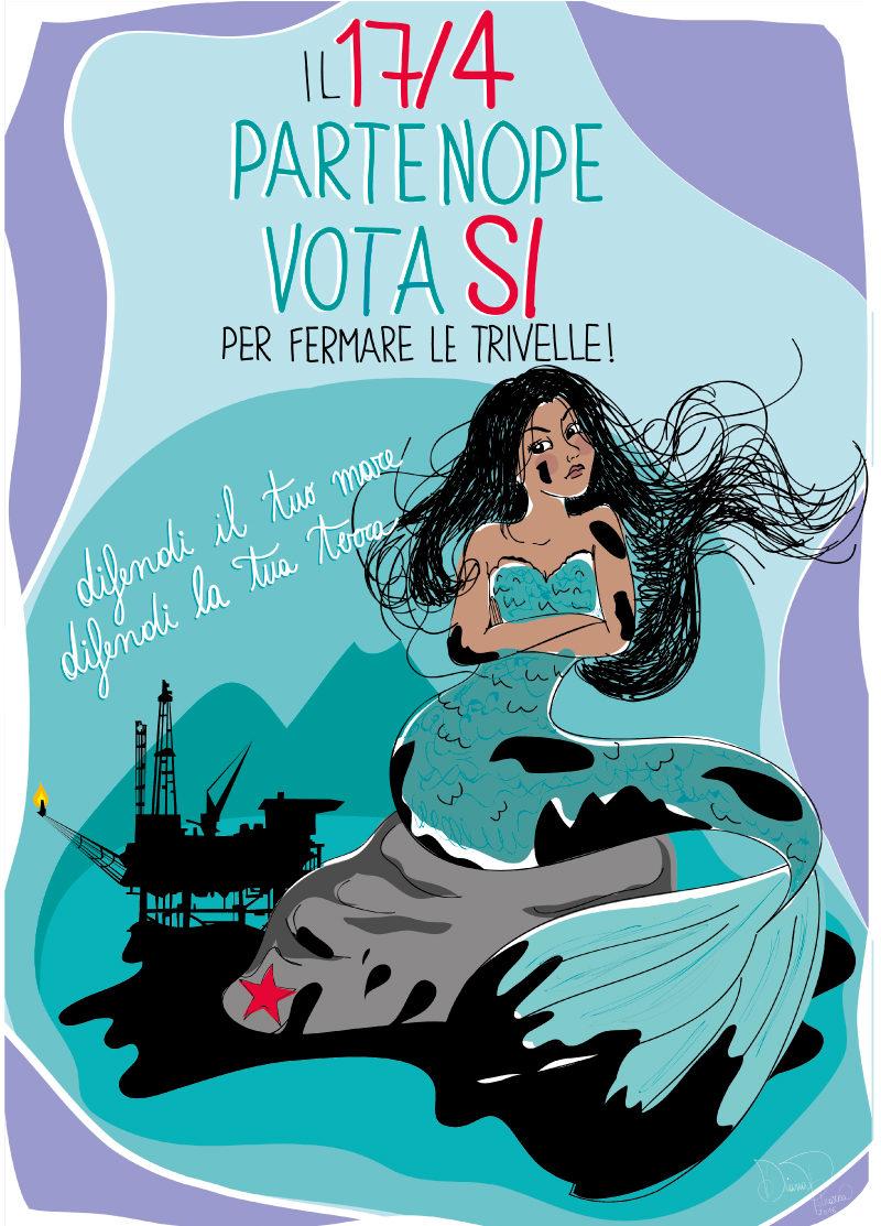 partenope è no Triv, partenope, Diana Petrarca, illustration, graphic design, Vesuvio, referendum, no Triv