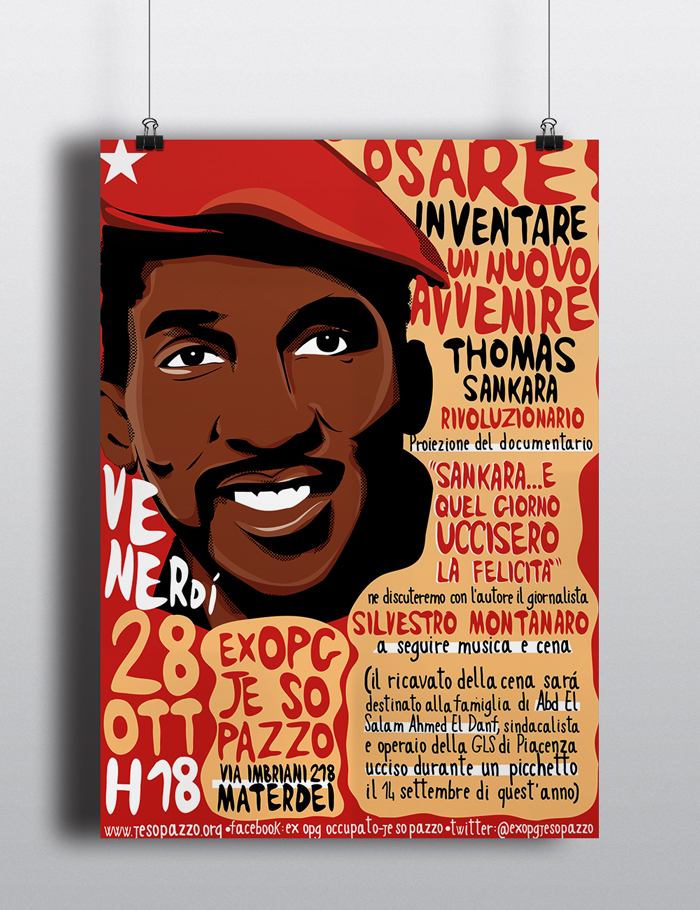 Documentario Thomas Sankara Locandina, diana petrarca, graphic design, grafica, rosso, rivoluzionario, proiezione, presentazione, thomas sankara, lotta