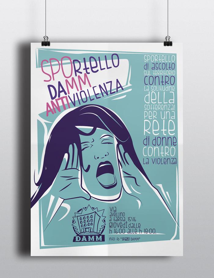 Sportello Antiviolenza Locandina, poster, donne, ascolto, violenza, antisessismo, diana petrarca, centro damm, graphic design, illustrazione, fiori, lotta, emancipazione
