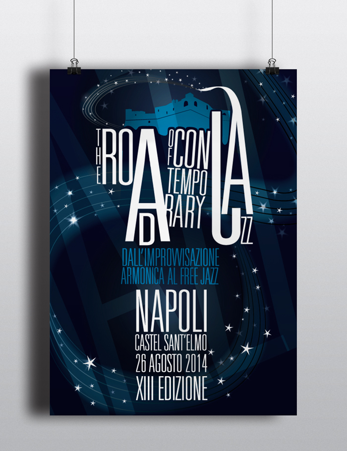 The Road of Contemporary Jazz Locandina, jazz, musica, napoli, castello, catel Sant'elmo, diana petrarca, poster, graphich design, grafica, impaginazione, lettering, blu