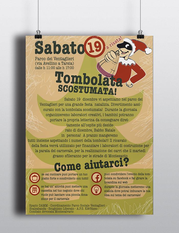 Tombolata Scostumata Locandina, poster, diana petrarca, graphic design, tombola, natale, pulcinella, numeri, gioco, festa, parco