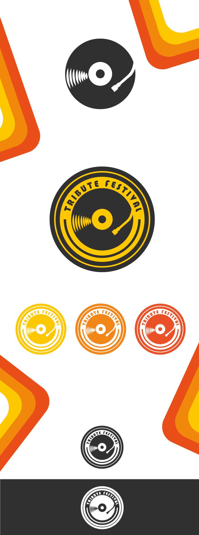 Tribute Music Fest - Logo, diana petrarca,graphic design, grafica, logo, musica, trubuto, festival, grafica, giallo, vinile, disco