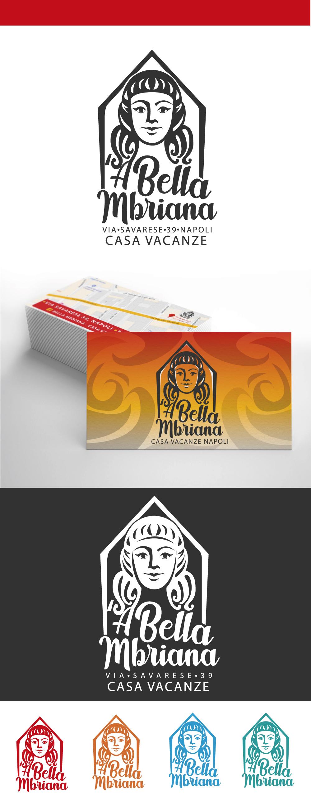 grafica,'A Bella Mbriana, Diana Petrarca, logo, graphic design, graphic, Napoli, casa vacanze, illustrazione, grafica, biglietti da visita, Illustrator
