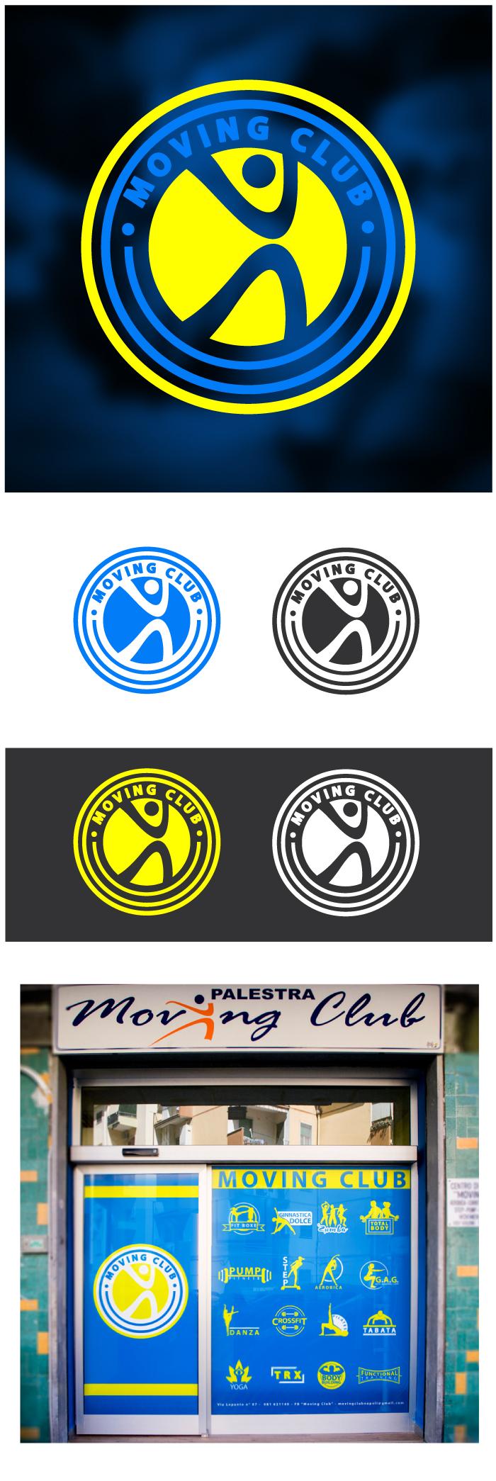 moving club, logo, napoli, Diana Petrarca, graphic design, illustration, web, sport, gym, palestra, Fuorigrotta, graphic designer, illustrator, yellow, giallo, blu, fitness